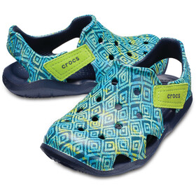 Crocs Swiftwater Wave Graphic Sandaler Børn blå/turkis